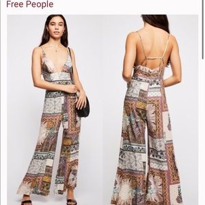 Free People White Margarita Patchwork Jumpsuit Size 4